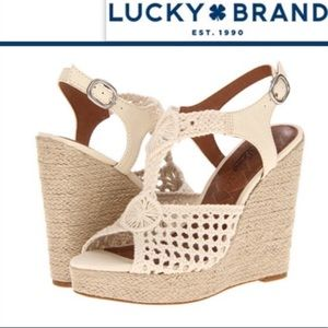 Lucky brand crochet wedges shoes size 8.5 rilo